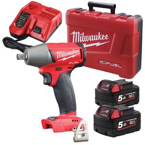 Milwaukee 18V 5.0Ah Li-Ion FUEL Brushless 1/2 Sq. Pin Impact Wrench Kit - M18FIWP12-502C