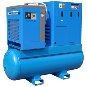 Peerless 'Full Feature' 10HP 1200 L/M Rotary Screw Compressor with Integrated Dryer and Tank - HQ10/8