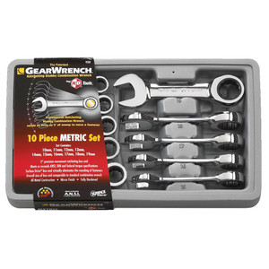 Gearwrench 10 Piece Metric Stubby Ring & Open End Spanner Set