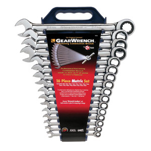 Gearwrench 16 Piece Metric Combination Ratcheting Spanner Set - 9416SS
