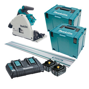 Makita 36V (18Vx2) 5.0ah 160mm Brushless Plunge Cut Saw 'Kit' with Connector Case 4 & 1400mm Rail - DSP600PT2JT