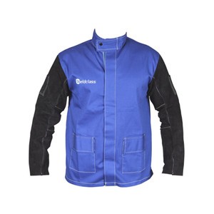 Weldclass PROMAX FR Blue Welding Jacket With Leather Sleeves - Large - WC-04658