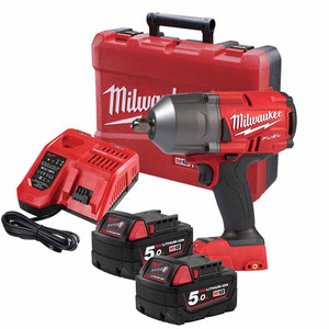 "Milwaukee 18V 5.0ah Li-Ion 1/2"" Square Detent Pin FUEL High Torque Impact Wrench Kit - M18FHIWP12-502C"