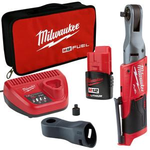 """Milwaukee M12 FUEL 3/8"""" Drive 2.0Ah Ratchet Wrench Kit - M12FIR38-201B"""