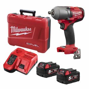 "Milwaukee M18 FUEL 5.0ah 1/2"" Drive Friction Ring Mid Torque Impact Wrench Kit - M18FMTIWF12-502C"