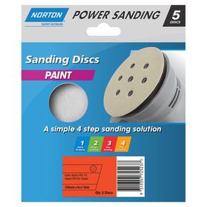 Norton Abrasives 150mm 6+1 Hole Sanding Disc For Paint - 120 Grit - Pack of 5