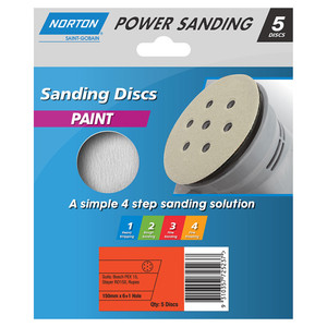 Norton Abrasives 150mm 6+1 Hole Sanding Disc For Paint - 320 Grit - Pack of 5