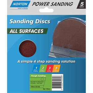 Norton Abrasives 178mm Adalox Speed Grip Sanding Disc - P120 - Pack of 5
