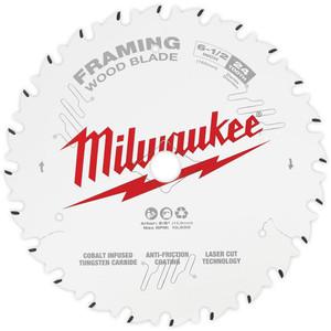 """Milwaukee 165mm (6 1-2"""") Framing 24T Circular Saw Blade - 48400620"""
