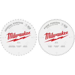 "Milwaukee 12"" 305mm 44T GENERAL PURPOSE+ 80T FINE FINISH 2 pack - 48408232"