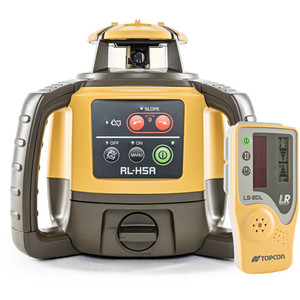 Topcon RL-H5A Red Beam Self-Leveling Rotary Grade Laser Level Kit with Rechargeable Battery & LS-80L Receiver - 1021200-09