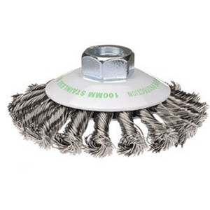 Bordo 100mm Twist Knot Bevel Brush Stainless Steel Multi Thread - 5113-100-3.5