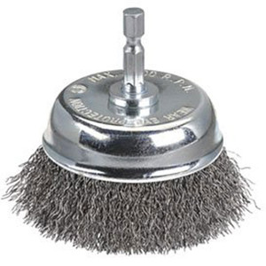 """Bordo 50mm Crimped Wire Cup Brush 0.3mm Steel 1/4"""" Hex Shank - 5130-50S"""
