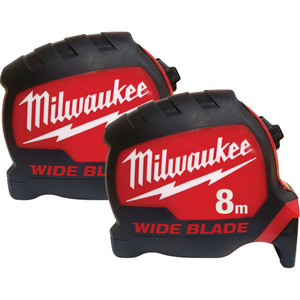 Milwaukee Wide Blade Tape Measure Double Pack 8M - 48220001DP