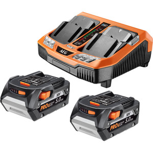 AEG 18V 2 x 5.0ah Battery and Dual Port Charger Combo - L18502RC-DPS