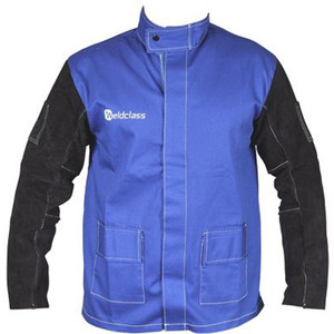 Weldclass Jackets - PROMAX BLUE FR with Leather Sleeves 3XL - WC-04657