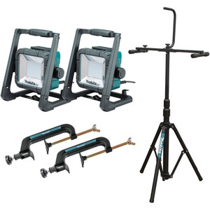 Makita 18V Mobile LED Work Light With Tripod and Two Clamps - DML805X2