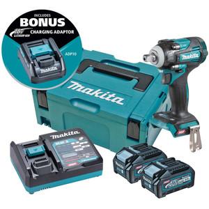 "Makita 40V Max BL 1/2"" Pin Detent Impact Wrench Kit - TW005GM203"