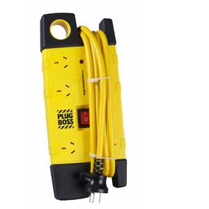 HPM Plugboss Heavy Duty Powerboard 10A 2400W 6 Outlets Yellow/Black 3.0m Lead 350J Surge - D105PBOSSPA6