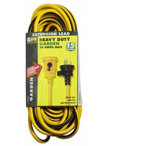 HPM Heavy duty 15m Garden Extension Lead 10A 2400W Yellow/Black 3 core 1.0mm² - R2815GL