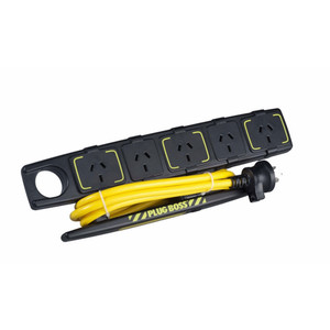 HPM Plugboss Heavy Duty Powerboard 10A 2400W 5 Outlets Yellow/Black Overload Protection 1.8M Lead - D105PBOSS5