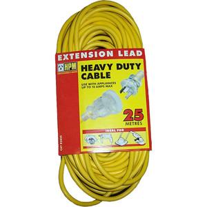 HPM Heavy Duty Extension Lead 10A 2400W Standard 25M Lead Yellow 3 Core 1.0mm² - R2825