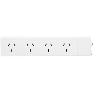 HPM Standard 1.8M Lead Powerboard 10A 2400W 4 Outlets White Overload Protection - D105/1