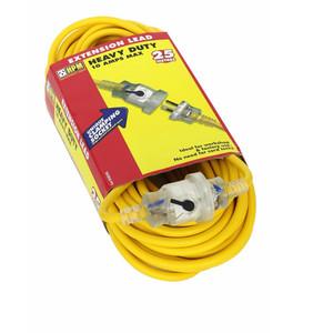 HPM Extension Lead With Locking Socket - Heavy Duty 10A 2400W Standard 20M Lead Yellow 3 Core 1.0mm² - R2820L