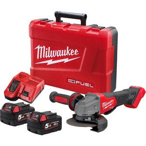 """Milwaukee M18 FUEL™ 125 mm (5"""") Angle Grinder with Deadman Paddle Switch Kit - M18FAG125XPD-502C"""