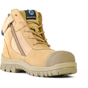 Bata Safety Boots Zippy Wheat - Mid Cut Zip Bump - Size 8 - 80488841-080