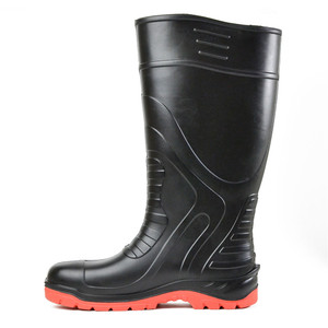 Bata Safety Boots Jobmaster PU Black/Red Gumboot - Size 7 - 89265020-070