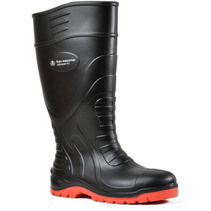 Bata Safety Boots Jobmaster PU Black/Red Gumboot - Size 8 - 89265020-080