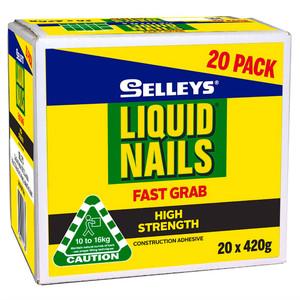 Selleys 420g Liquid Nails Fast Grab Strong Adhesive 20 Pack - 100213