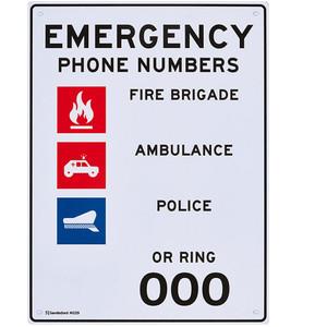Sandleford Sign 225X300mm Emergency Phone Numbers - MS39