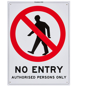 Sandleford Sign 225X300mm No Entry Authorised Persons Only - MS63