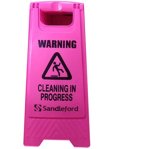 Sandleford Cleaning In Progress Sign Pink - SASP01
