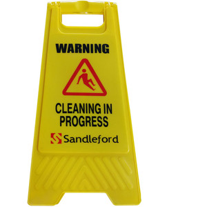 Sandleford Cleaning In Progress Sign Yellow - SASY02