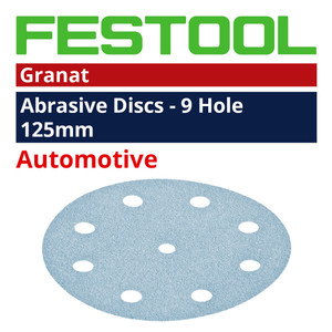 Festool 125mm 9 Hole 'Granat' Abrasive Discs Range