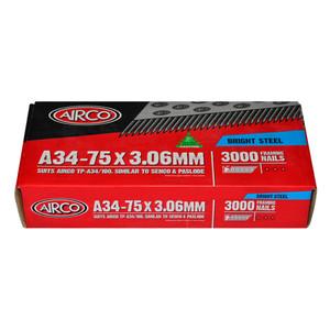 Airco 75mm 34 Degree Framing Nails Plain Box of 3000