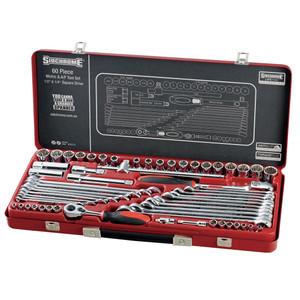 """Sidchrome 60 Piece Metric & AF 1/4"""" & 1/2"""" Drive Socket & Spanner Set - 10175"""