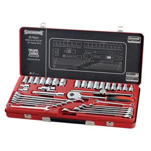 """Sidchrome 35 Piece Metric & AF 1/2"""" Socket & Spanner Set - 10184"""