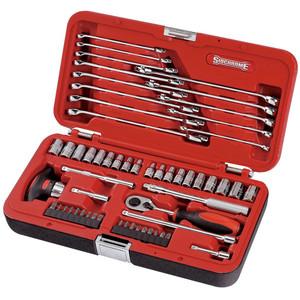 """Sidchrome 57 Piece Metric & AF 1/4"""" Drive Socket & Spanner Set - 10810"""