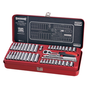 """Sidchrome 43 Piece Metric & AF 1/4"""" Drive Socket Set - 12130"""