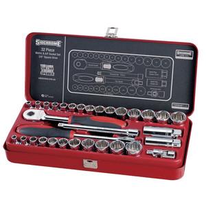 """Sidchrome 32 Piece Metric & AF 3/8"""" Drive Socket Set - 13105"""
