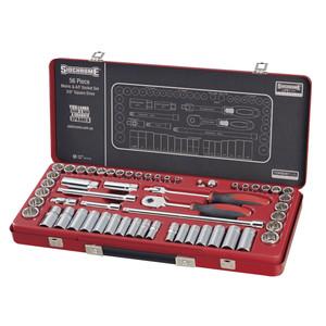 """Sidchrome 56 Piece Metric & AF 3/8"""" Drive Socket Set - 13110"""