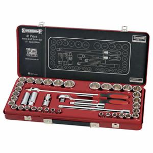 """Sidchrome 41 Piece Metric & AF 1/2"""" Drive Socket Set - 14104"""