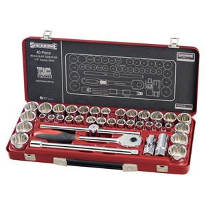 """Sidchrome 40 Piece Metric & AF 1/2"""" Drive Socket Set - 14105"""