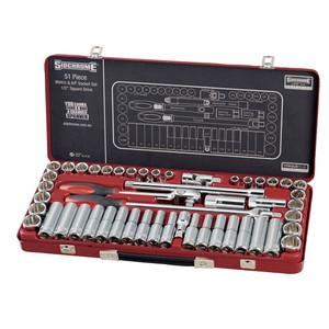 """Sidchrome 51 Piece Metric & AF 1/2"""" Drive Socket Set - 14130"""