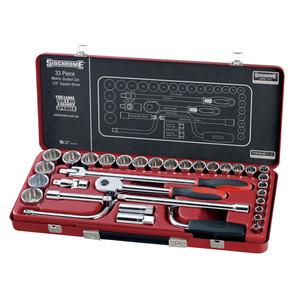 "Sidchrome 33 Piece Metric 1/2"" Drive Socket Set - 14210"