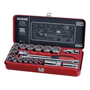 """Sidchrome 21 Piece AF 1/2"""" Drive Socket Set - 14412"""